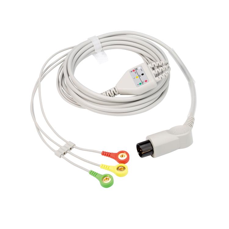 通用6针3导欧标扣式心电导联线 一体式心电电极线
